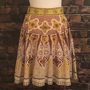Anthropologie Beaded Brown Motif Skirt